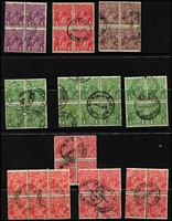 Lot 501 [3 of 4]:Kangaroo & Georgian Head Multiples with Roos 1d block of 7, block of 6 & blocks of 4 x4, Third Wmk 3d Die I, 6d blue & 6d chestnut Die IIB blocks of 4, 9d & 1/- Die II blocks of 4; KGV Head with 1d violet block of 4 CTO, Smooth Paper 1d red block of 4, duplicated other values to 5d; some small faults, generally fine. (44 blocks)