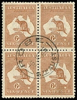 Lot 501 [1 of 4]:Kangaroo & Georgian Head Multiples with Roos 1d block of 7, block of 6 & blocks of 4 x4, Third Wmk 3d Die I, 6d blue & 6d chestnut Die IIB blocks of 4, 9d & 1/- Die II blocks of 4; KGV Head with 1d violet block of 4 CTO, Smooth Paper 1d red block of 4, duplicated other values to 5d; some small faults, generally fine. (44 blocks)