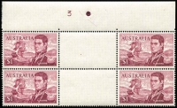 Lot 839:1966-74 $1 Flinders Perf 14¾x14 Plate 3 (complete) top centre gutter block of 4 BW #464z, mounted in sheet margin only, stamps MUH, Cat $400.