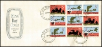 Lot 811:1969 England-Australia Flight Anniversary 5c se-tenant block of 9 BW #515cb including 5c Fysh Broken Wheel [LP 7/3] BW #510e tied by Brisbane '12NO69' FDI datestamp to APO generic 'Shield' FDC, fine unaddressed condition.