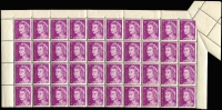 Lot 835:1971-73 7c QEII block of 40 from top of sheet with margins intact, the upper right corner unit Partly imperforate at right & at top due to paper fold BW #447bb, fresh MUH, Cat $750+.