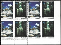 Lot 850:1979 National Parks 20c Waterfalls se-tenant block of 8, the third unit in each row Imperforate on three sides & the fourth unit on each row Completely imperforate, fresh MUH, Cat $2,500++. [Gawaine Baillie's block of 8 sold for $1,900+ in July 2005]