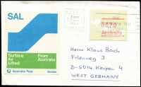 Lot 852:1985-86 $3.20 Kangaroo Frama tied by Adelaide slogan cancel to a small cover to Germany paying the Surface Air Lifted rate, blue & green SAL label at left, fine condition. Unusual.