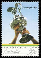 Lot 853 [2 of 2]:1986 America's Cup Triumph 36c Trophy error Grey omitted BW #1175c, fresh MUH, with normal stamp for comparison, Cat $300.