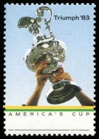 Lot 853 [1 of 2]:1986 America's Cup Triumph 36c Trophy error Grey omitted BW #1175c, fresh MUH, with normal stamp for comparison, Cat $300.
