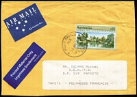 Lot 913:1989 $10 Adelaide Botanic Gardens BW #1414 solo franking tied by Woy Woy datestamp to 1993 (Dec 14) small cover from a photo-journalist based in Umina Beach (NSW) to French Polynesia. Scarce commercial solo franking.