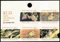 Lot 370 [2 of 2]:1992-94 Threatened Species $2.25 sheetlet original printing on non-phosphor coated paper with 17mm helecon bars variety Punch hole at bottom of sheetlet, resulting in a 8mm punch hole through the 45c Dusky Hopping-mouse stamp BW #1567b, fine condition with a normal sheetlet included for comparison, Cat $200.
