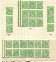 Lot 596 [2 of 3]:½d Mint Multiples with Single Wmk ½d green blocks of 12 (perf reinforcement), part Harrison one-line imprint and variety Breaks in right frame opposite value tablet [6R54], plus block of 16, blocks of 9 x3 & strips of 3 x2; also Single Wmk ½d orange Inverted watermark block of 9 and pairs x6; mounted on album pages, generally fine.
