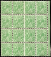 Lot 596 [1 of 3]:½d Mint Multiples with Single Wmk ½d green blocks of 12 (perf reinforcement), part Harrison one-line imprint and variety Breaks in right frame opposite value tablet [6R54], plus block of 16, blocks of 9 x3 & strips of 3 x2; also Single Wmk ½d orange Inverted watermark block of 9 and pairs x6; mounted on album pages, generally fine.