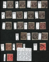 Lot 597 [2 of 2]:1½d Die I Varieties Single & LMult Wmk selection predominantly black-browns & browns mostly perf 'OS', catalogued varieties are BW #83(1)i, 83(3)e, 84(1)k, 89(15)g, other plated flaws are 2L35,59; 2R6,10,12,16,18,37; 3L6,8,32; 7R4,22; 15L12 & 15R48. (20)