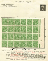Lot 599 [3 of 4]:1d Mostly Mint Varieties Collection mainly in multiples including [1] 1d red variety Notched NE corner in single Wmk perf 'OS' used block of 4 and in mint block with partial Harrison two-line imprint; [2] Deformed shading in oval over 'E' of 'POSTAGE' [VI/59] in Single Wmk 1d violet mint block of 8, 1d green mint block of 10 and No Wmk 1d green block of 4; [3] 1d green White flaw in right frame opposite emu's feet [VI/55] in No Wmk mint block of 4 with part Harrison imprint and in SMult P14 perf 'OS' Mullett imprint used block of 4; [4] Dot before right '1' and Thinned and left frame [VI/21-22] in mint multiples including Single Wmk 1d violet & 1d green blocks of 24 (also Colour spot in SE corner [VI/2]) and 1d green No Wmk blocks of 4 & 12; [5] 1d green P13½x12½ mint block of 4[VII/31-32, 37-38] showing Wattle line - State II with small tick at point of left value tablet & Flaw under neck - State IV 'Roman' nose, & duplication at top right; etc; also range 1d violet mint shades; condition generally fine. (38 items)