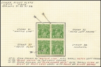 Lot 600 [2 of 5]:1d Neck Flaw Study [VII/37] often within mint multiples including Single Wmk 1d red Rough paper pairs x2, 1d violet block of 4, 1d green block of 4 [VII/31-32, 37-38] with additional flaws Wattle line & Nick near top of left frame plus SMult P14 similar blocks showing State II or State III retouches of Neck flaw BW #80(4)ha&hb (Cat $500), etc; condition generally fine.