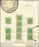 Lot 600 [3 of 5]:1d Neck Flaw Study [VII/37] often within mint multiples including Single Wmk 1d red Rough paper pairs x2, 1d violet block of 4, 1d green block of 4 [VII/31-32, 37-38] with additional flaws Wattle line & Nick near top of left frame plus SMult P14 similar blocks showing State II or State III retouches of Neck flaw BW #80(4)ha&hb (Cat $500), etc; condition generally fine.