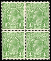 Lot 600 [1 of 5]:1d Neck Flaw Study [VII/37] often within mint multiples including Single Wmk 1d red Rough paper pairs x2, 1d violet block of 4, 1d green block of 4 [VII/31-32, 37-38] with additional flaws Wattle line & Nick near top of left frame plus SMult P14 similar blocks showing State II or State III retouches of Neck flaw BW #80(4)ha&hb (Cat $500), etc; condition generally fine.