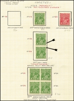 Lot 601 [2 of 3]:1d Plate 2 'PENAVY' Flaw Mint Study [III/29] with Single Wmk 1d red Smooth paper x2, SMult P13½x12½ 1d green in block of 4 and in an Inverted watermark pair, also a block of 8 with additional flaw Rusted top right corner - retouched [III/29], etc; generally fine, Cat $900+. (7 items)