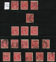 Lot 234 [3 of 4]:1d Reds Array with Single Wmk mostly Rough Paper x 51 (perf 'OS' x8 & a single Perf 'OS/NSW'); also LMult Wmk 1d x22 (perf 'OS/NSW' x2 & a single perf 'OS'); LMult alone, Cat $500+. (77)