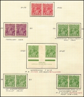 Lot 602 [2 of 4]:1d Varieties Collection with studies of Brusden White listed flaws mint and used including [1] Secret Mark [VII/1] with Single Wmk 1d red x20 used, 1d green Watermark inverted mint, LMult 1d green in vertical strip of 5 mint, SMult P14 1d green in block of 30 mint; [2] Thin 'ONE PENNY' in mint LMult 1d green block of 24 & SMult P14 block of 18 (each with two other listed flaws); [3] 'NY' Joined in mint SMult P14 block of 18, [4] 'Ferns & 'RA' joined in Single Wmk 1d red Smooth paper block of 4, Rough paper strip of 5 and in SMult P14 1d green Ash imprint block of 4 with 'RA' joined retouched; [5] 'Ferns, 'RA' joined & Roo's tongue out in Single Wmk 1d green Mullett imprint block of 8; also Wattle Line, White flaw in right frame, Run 'N' in 'ONE', Roos tongue out plus other useful oddments including 1d red Die III mint & unused; condition generally fine. Worthy of close inspection. (100s)