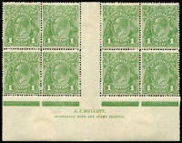 Lot 602 [1 of 4]:1d Varieties Collection with studies of Brusden White listed flaws mint and used including [1] Secret Mark [VII/1] with Single Wmk 1d red x20 used, 1d green Watermark inverted mint, LMult 1d green in vertical strip of 5 mint, SMult P14 1d green in block of 30 mint; [2] Thin 'ONE PENNY' in mint LMult 1d green block of 24 & SMult P14 block of 18 (each with two other listed flaws); [3] 'NY' Joined in mint SMult P14 block of 18, [4] 'Ferns & 'RA' joined in Single Wmk 1d red Smooth paper block of 4, Rough paper strip of 5 and in SMult P14 1d green Ash imprint block of 4 with 'RA' joined retouched; [5] 'Ferns, 'RA' joined & Roo's tongue out in Single Wmk 1d green Mullett imprint block of 8; also Wattle Line, White flaw in right frame, Run 'N' in 'ONE', Roos tongue out plus other useful oddments including 1d red Die III mint & unused; condition generally fine. Worthy of close inspection. (100s)