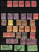 Lot 605 [3 of 4]:Mostly 1d Reds in Stockbook x350+ with good variety of smooth & rough paper shades, 'OS perfins, private perfins, few pairs; also ½d greens Single Wmk x50+ & LMult x28, other values to 5d; also a few 2½d & 3d Roos including Third Wmk 2½d strips of 4 x2. (100s)