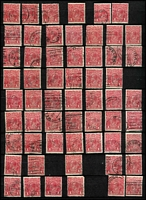 Lot 605 [1 of 4]:Mostly 1d Reds in Stockbook x350+ with good variety of smooth & rough paper shades, 'OS perfins, private perfins, few pairs; also ½d greens Single Wmk x50+ & LMult x28, other values to 5d; also a few 2½d & 3d Roos including Third Wmk 2½d strips of 4 x2. (100s)