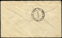 Lot 756 [2 of 2]:2d Red Die III Booklet Pane of 6 Watermark inverted BW #103ca plus 2d singles x3 paying 1/6d airmail rate to UK, Tibooburra (NSW) datestamp cancels, cover with a few light tonespots. Rare usage.