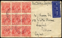 Lot 756 [1 of 2]:2d Red Die III Booklet Pane of 6 Watermark inverted BW #103ca plus 2d singles x3 paying 1/6d airmail rate to UK, Tibooburra (NSW) datestamp cancels, cover with a few light tonespots. Rare usage.