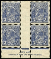 Lot 758:3d Deep Blue Die II Plate 7 Ash imprint block of 4 with variety White flaw beneath roo's paw BW #109z, minor perf separation at base, mild even-toned gum, lower units MUH, Cat $400+.