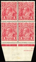 Lot 730:1d Carmine-Rose block of 4 with varieties 'Ferns' and 'RA' of 'AUSTRALIA' joined [VIII/54 & VIII/60] BW #74(4)ia&j in block of 4 with part Harrison two-line imprint, lower units MUH, Cat $700+.