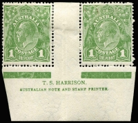 Lot 731:1d Green Harrison two-line ('N' over 'MP') imprint pair with variety 'RA' joined [VII/60] BW #78(4)z, hinge remainders, Cat $250 (for imprint block of 4).