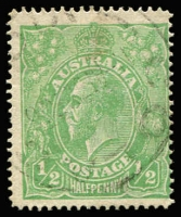 Lot 614:½d Pale Green Single Line Perf BW #64B, lightly struck datestamp cancel, Cat $1,000. Drury Certificate (2018).