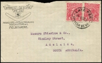 Lot 651:1d Carmine-Rose (G30) Smooth Paper x2, one with variety Die I substituted cliché BW #71V(2)ka tied by Melbourne Late Fee datestamp to Shierlaw front, Cat $150+. Drury Certificate (2016).
