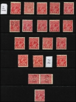 Lot 616 [2 of 2]:1d Red Mint Selection with Line Perf x2, Smooth Paper Comb Perf x14 (one perf 'OS), a few without gum, plus Rough Paper perf 'OS' vertical pair; also 1d Engraved x2 & LMult 1d (unused); condition a tad varible but mostly fine. (21)