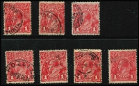 Lot 615 [3 of 4]:1d Red Smooth Paper Collection with few Line Perfs, plus Comb Perf Inverted watermarks, shades, multiples, perf 'OS' including Die I-II pair, Pane VI to Pane VIII 'Brusden White listed varieties, plus unlisted minor flaws; also dated examples with likely postmark interest. Well worth investigating. (100s)