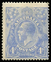 Lot 720:4d Blue Cooke Plates variety Thin 'FOUR PENCE' - late state retouch [2R12] BW #112(2)rb, mild uniform gum toning, fine mint overall, Cat $1,100.