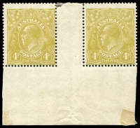 Lot 721:4d Olive Plate 4 No Imprint pair BW #114(4)za, unit [R55] variety Diagonal line on King's neck, small fragment of central gutter missing, mild uniform gum tone, hinge remainder, right side unit MUH, Cat $450.