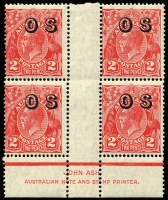Lot 750:2d Red Die III Overprinted 'OS' Ash imprint block of 4 BW #102(OS)z, fresh MUH, Cat $150+.