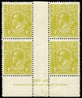 Lot 751:4d Olive Plate 3 Ash imprint block of 4, mounted in central gutter only, stamps fresh MUH, Cat $375+.