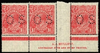Lot 709:1½d Red Die II Mullett imprint strip of 3 with Void top right corner - first correction [2L59] BW #91(2)zc, fresh MUH, Cat $500 (as an imprint block of 4).
