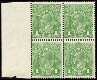 Lot 739 [1 of 3]:1d Green Plate 3 [VII/31-32, 37-37] mint blocks of 4 x3 showing stages I & II of Wattle Line flaw & stage I, II & III Flaw under neck flaws, stage II showing Retouched flaw under neck the latter stage showing Duplication of bridge of King's nose & below right value tablet BW #80(4)f,fa,g,h,ha&hb, all neatly presented on annotated album pages, Cat $1,000+. (3 blocks)