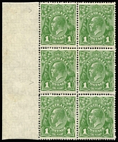 Lot 740 [2 of 2]:1d Green block of 6 x2 [VII/31-32,37-38,43-44] both blocks with varieties Wattle line and Notch in top left frame in original state, however the second block shows the Flaw under neck [VII/37] variety in the Retouched state, with 'GE' of 'POSTAGE' thinned BW #80(4)f,h&ha, stamps are fresh MUH (mounted on margin selvedge only), Cat $700+. (2 blocks)