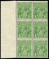 Lot 740 [1 of 2]:1d Green block of 6 x2 [VII/31-32,37-38,43-44] both blocks with varieties Wattle line and Notch in top left frame in original state, however the second block shows the Flaw under neck [VII/37] variety in the Retouched state, with 'GE' of 'POSTAGE' thinned BW #80(4)f,h&ha, stamps are fresh MUH (mounted on margin selvedge only), Cat $700+. (2 blocks)