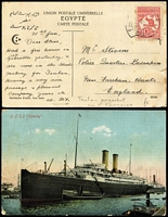 "Lot 502 [3 of 3]:1913-18 on Cover/Card Selection with 1914 PPC endorsed ""Makassar/Celebes"" with ½d pair tied by three fine strikes of 'S.S. HOUTMAN' straight-line handstamp in violet; also 1914 PPC (view side ship 'S.S. Osterley') with 1d Die I tied by Toulon paquebot cancel and 1916(?) cover with Third Wmk 2d tied by 'LATE FEE/SPENCER ST VIC' datestamp. (3)"