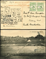 "Lot 502 [1 of 3]:1913-18 on Cover/Card Selection with 1914 PPC endorsed ""Makassar/Celebes"" with ½d pair tied by three fine strikes of 'S.S. HOUTMAN' straight-line handstamp in violet; also 1914 PPC (view side ship 'S.S. Osterley') with 1d Die I tied by Toulon paquebot cancel and 1916(?) cover with Third Wmk 2d tied by 'LATE FEE/SPENCER ST VIC' datestamp. (3)"