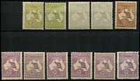 Lot 248 [2 of 4]:Mint Selection with First Wmk 2d & 6d, Third Wmk 2d Die I, 2½d x6, 3d Die I x3, 6d blue Die II x2, 6d chestnut and 9d x6, SMult 2/-, CofA 6d (opt 'OS') and 9d x3, many stamps with light to heavyish gum toning, Cat $2,000+. (25)