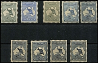Lot 248 [3 of 4]:Mint Selection with First Wmk 2d & 6d, Third Wmk 2d Die I, 2½d x6, 3d Die I x3, 6d blue Die II x2, 6d chestnut and 9d x6, SMult 2/-, CofA 6d (opt 'OS') and 9d x3, many stamps with light to heavyish gum toning, Cat $2,000+. (25)