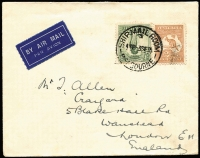 Lot 586:6d Chestnut Die IIB BW #23 (Cat $600 on cover) plus 1/- Lyrebird on 1935 (Sep 3) airmail cover Melbourne to England, minor soiling. Rare franking.