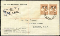 Lot 587 [1 of 2]:6d Chestnut Overprinted 'OS' BW #23(OS) pair on 1933 (Mar 2) OHMS registered cover from Sydney to Hamilton (NSW), backstamps for both, minor soiling.