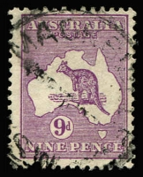 Lot 588:9d Violet variety Thin-necked kangaroo [3R28] prior to retouch, Brusden White do not list for CofA Wmk, would be BW #29(3)g, Cat $250 (for SMult Wmk BW #28(3)g).