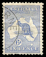 Lot 3 [3 of 4]:Melbourne CTO Group comprising 3d Die II, 6d, 1/- Watermark inverted (mild soiling) & 2/- (excellent centring), Cat $700. (4)