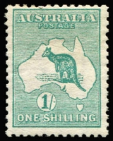 Lot 94:1/- Green Watermark inverted BW #30a, regummed, Cat $4,000.